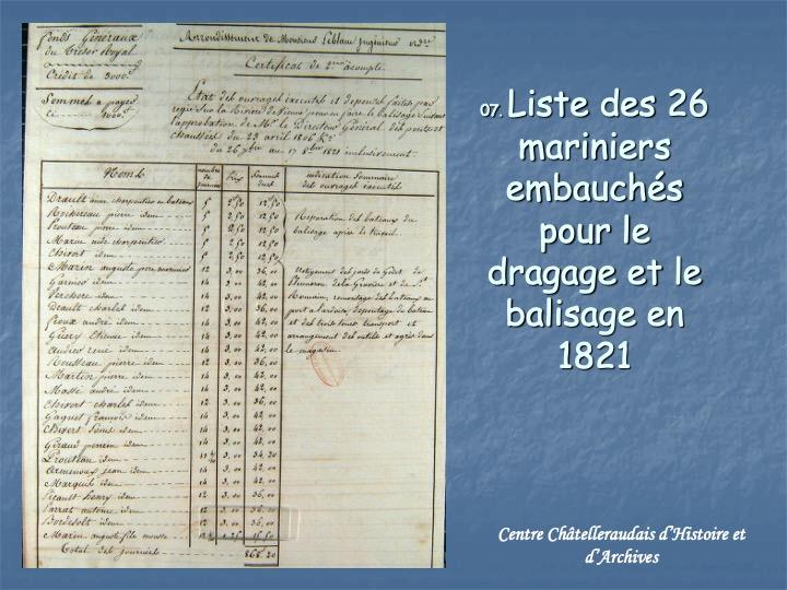 Liste des mariniers 1821